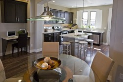 Open kitchen and dining room in Daybreak townhome