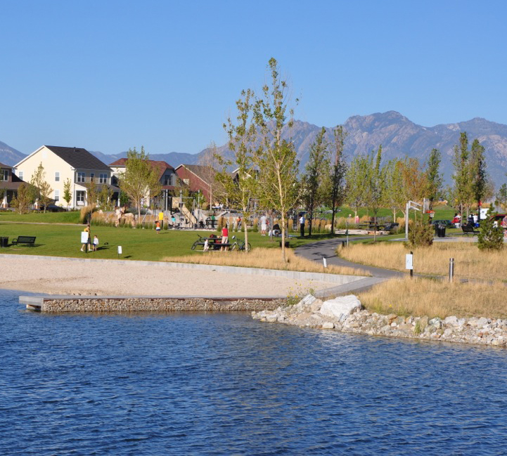 The lake and trail at Daybreak community
